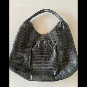NANCY GONZALEZ Gray Crocodile Hobo Shoulder Bag